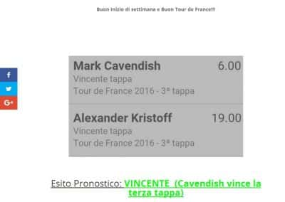 Pronostico Vincente del 4 luglio 2016 a quota 6 (Pronostico terza tappa tour de france)
