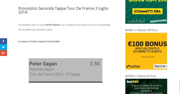 pronostico vincente seconda tappa tour de france del 3 luglio 2016