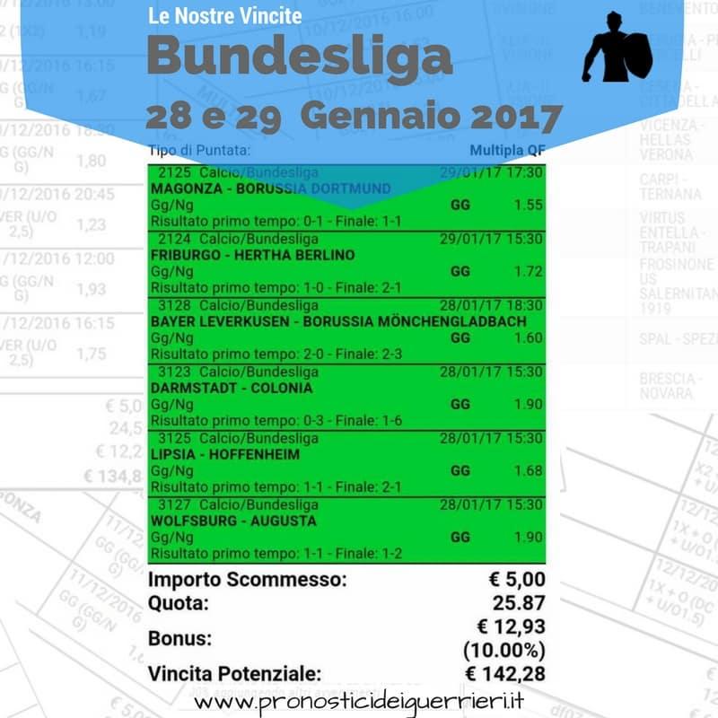 Scommessa multipla  vincente bundesliga del 28 e 29 gennaio 2017 -Sito internet-