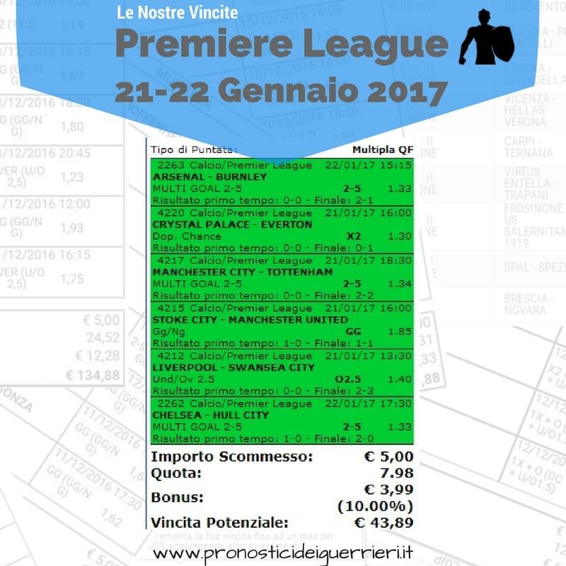 Scommessa multipla vincente Premiere league del 21 e 22 Gennaio 2017 -Sito Internet-