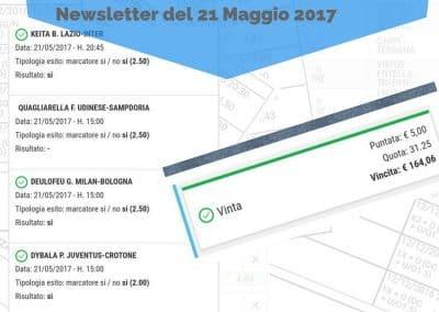 Multipla MARCATORI del 21 Maggio 2017 -Pronostico inviato con Newsletter
