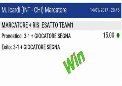 Pronostico VINCENTE del 14 Gennaio 2017 Inter-Chievo Ris Esatto e Marcatore -Gruppo Facebook-