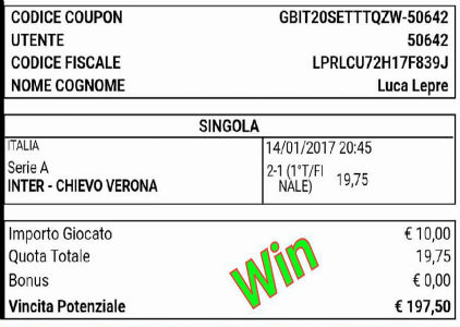 Pronostico VINCENTE del 14 Gennaio 2017 parziale finale Inter-Chievo a quota 20