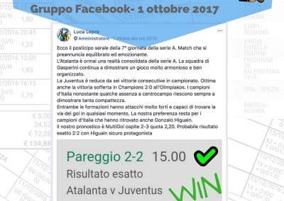Scommessa SINGOLA VINCENTE Ris Esatto ATALANTA- JUVE del 1 Ottobre 2017 -Gruppo Facebook-