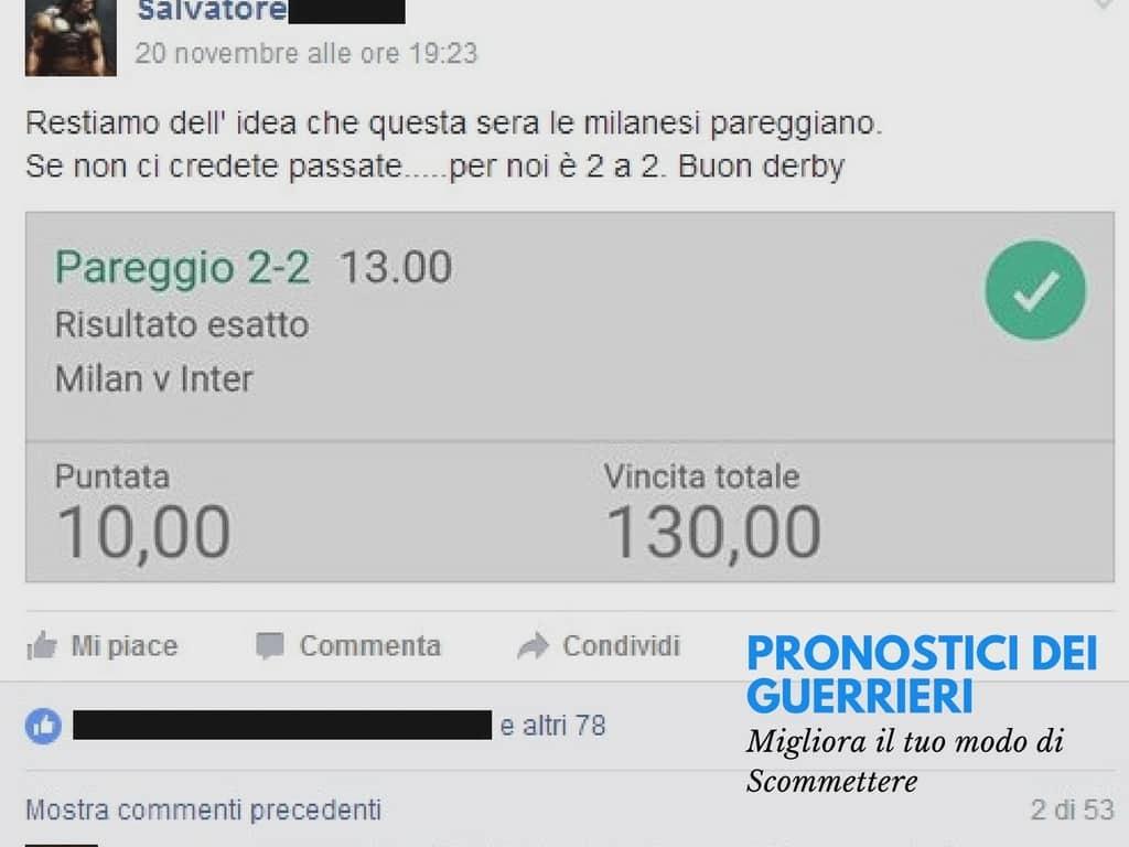 Pronostico VINCENTE del 20-11-2016 risultato esatto MILAN - INTER -Gruppo Gratuito Facebook