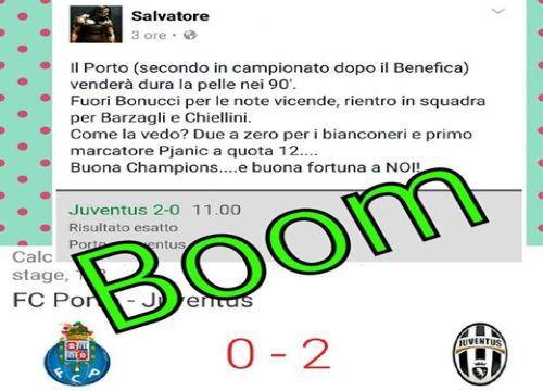 risultato esatto porto-Juventus in CASSA a quota 11 (22-02-2017) -Gruppo Facebook-