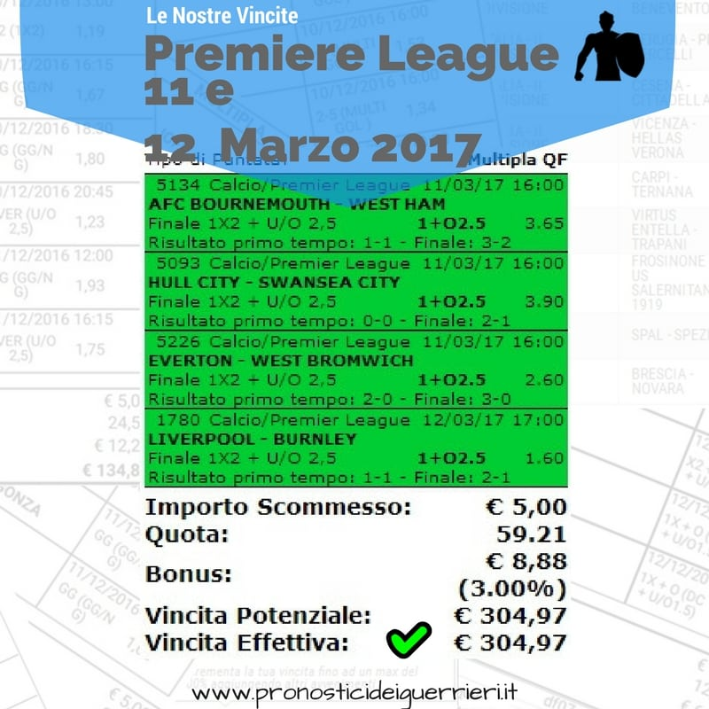 scommessa multipla Premiere League 28 giornata 11 e 12 Marzo 2017 -sito internet-