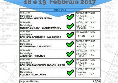 scommessa multipla bundesliga 21 giornata 18 e 19 febbraio 2017 -sito internet-