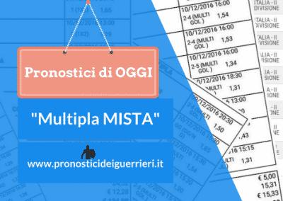 "Pronostici CALCIO di OGGI 23-01-2017: ""La MULTIPLA MISTA"" dei Guerrieri"