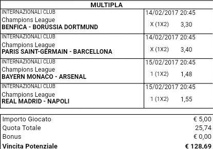 scommessa multipla mista champions league 14 15-02-2017