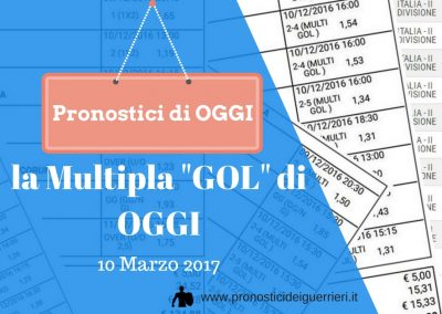 """La Multipla segni """"GOL"""" di  OGGI 10 marzo 2017"""
