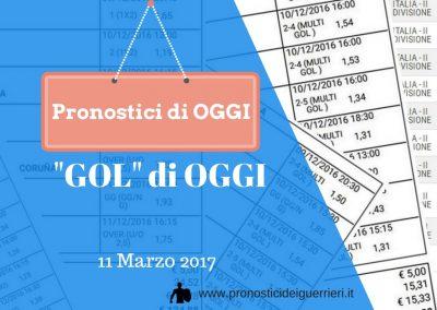 """La multipla """"GOL"""" di OGGI sabato 11 marzo 2017"""