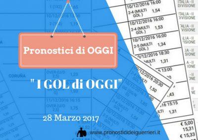 """La Scommessa Multipla """"GOL"""" di OGGI 28 marzo 2017"""