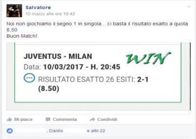 risultato esatto JUVENTUS - MILAN del 10 marzo 2017 -Gruppo Gratuito Facebook-