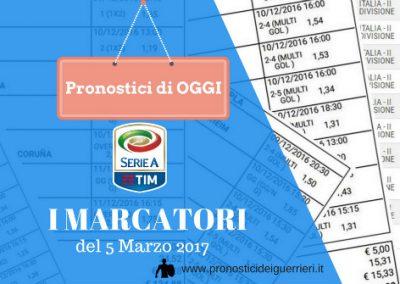"""SERIE """"A"""": Scommessa multipla MARCATORI del 05-03-2017"""