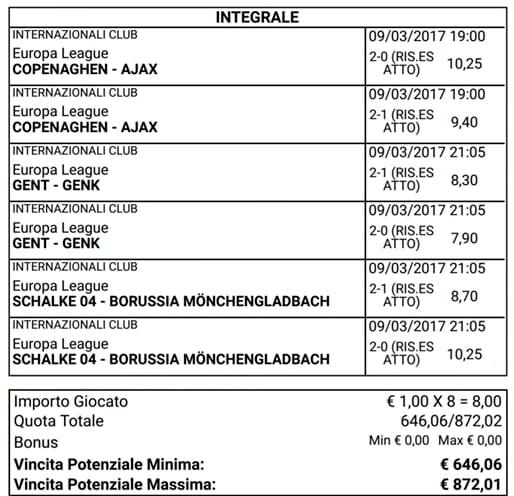 sistema risulta esatti europa league oggi 09-03-2017