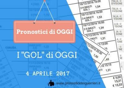 """La SCOMMESSA Multipla """"GOL"""" di OGGI 4 aprile 2017"""