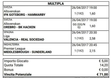 scommessa multipla calcio oggi 26 aprile 2017