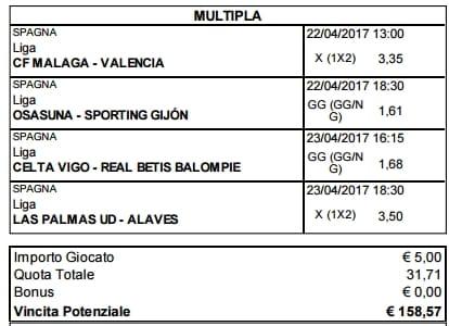 scommessa multipla liga 33 giornata 22 e 23 aprile 2017