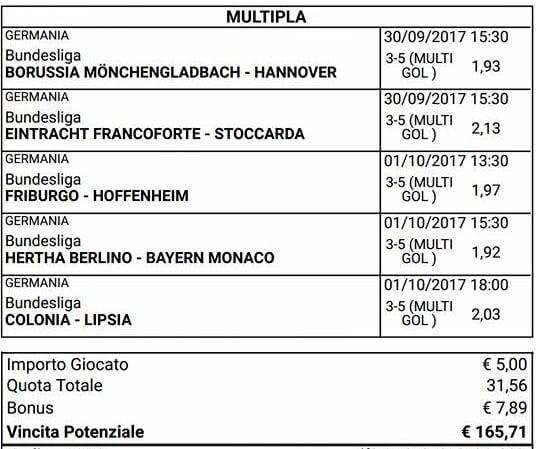 bundesliga 7 giornata scommessa multipla mista del 30 settembre 1 ottobre 2017