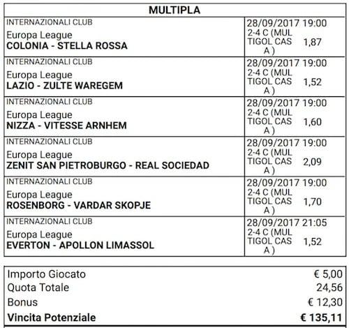 scommessa multigol europa league del 28 settembre 2017