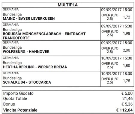 scommessa multipla bundesliga 3 giornata 9 e 10 settembre 2017