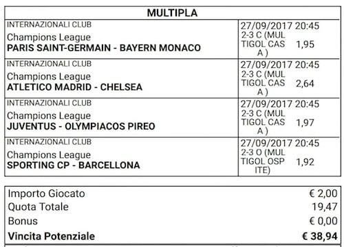scommessa multipla champions league del 27 settembre 2017
