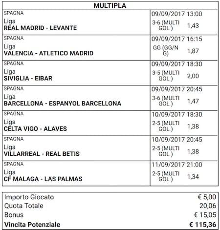 scommessa multipla liga 3 giornata 9 10 e 11 settembre 2017