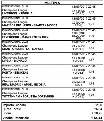 scommessa multipla mista champions league del 13 settembre 2017
