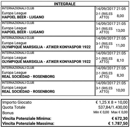 sistema risultati esatti europa league del 14 settembre 2017