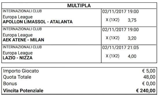 scommessa multipla europa league del 2 novembre 2017