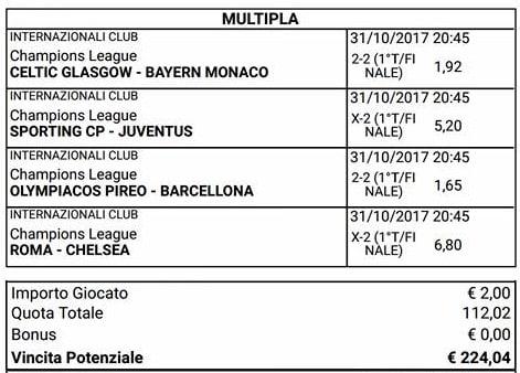 scommessa parziali finali champions league del 31 ottobre 2017