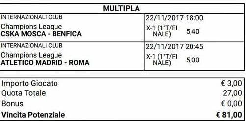 scommessa multipla parziali finali champions league del 22 novembre 2017