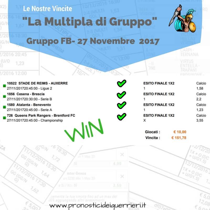 Scommessa multipla VINCENTE del 27 Novembre 2017 -Gruppo Facebook-