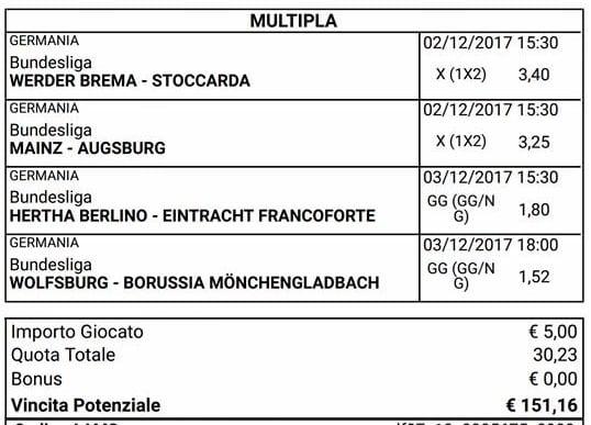 scommessa multipla bundesliga 14 giornata 2 3 dicembre 2017