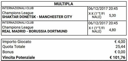 scommessa parziali finali champions league del 6 dicembre 2017