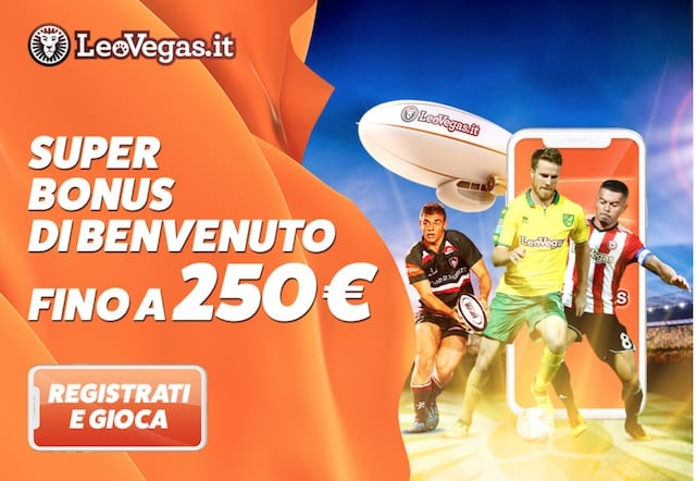 Bonus Scommesse LeoVegas: MEGA Bonus fino a 250 Euro!