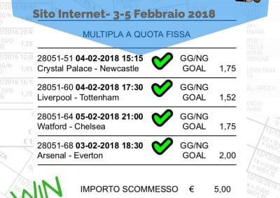 Scommessa multipla VINCENTE Premiere League 3-5 Febbraio 2018 -Sito Internet-