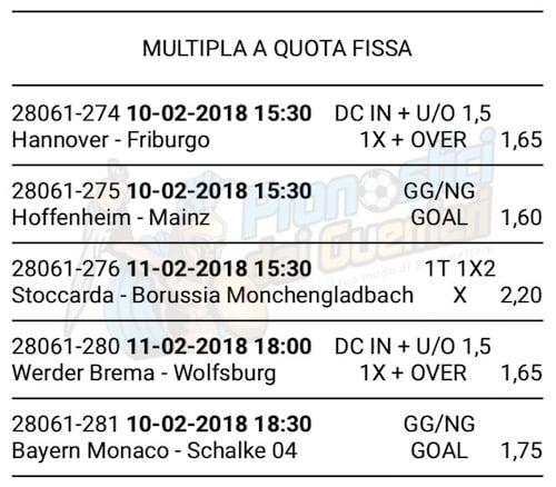scommessa multipla bundesliga 22 giornata 10 e 11 febbraio 2018