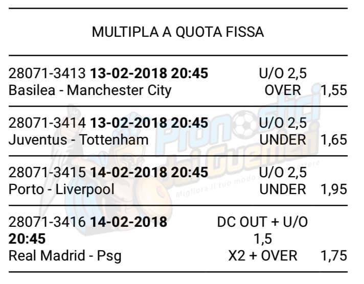 scommessa multipla champions league 13 e 14 febbraio 2018