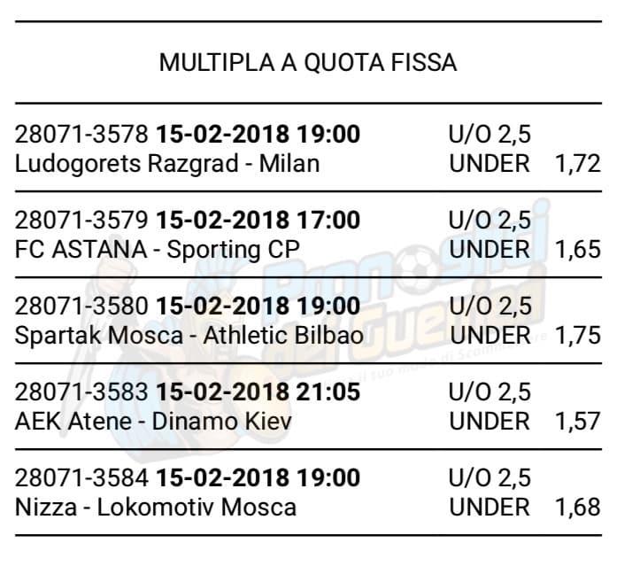 scommessa multipla europa league del 15 febbraio 2018