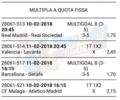 scommessa multipla liga 23 giornata 10 e 11 febbraio 2018