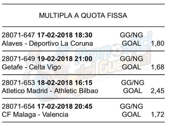 scommessa multipla liga 24 giornata 17 19 febbraio 2018