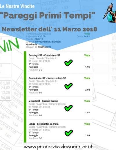 Scommessa multipla VINCENTE Pareggi Primi Tempi -Newsletter dell' 11 marzo 2018
