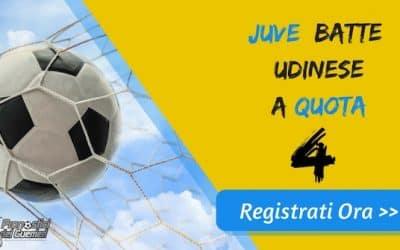 """Bonus Serie """"A"""": JUVENTUS batte UDINESE a quota 4 (Puntata max 10€)"""