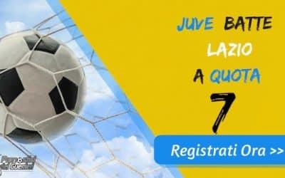 """Bonus Serie """"A"""": JUVENTUS batte LAZIO a quota 7 (Puntata max 10€)"""