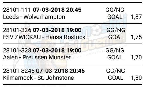 multipla goal del 7 marzo 2018