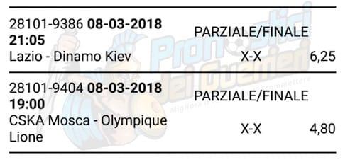 multipla parziali e finali del 8 marzo 2018