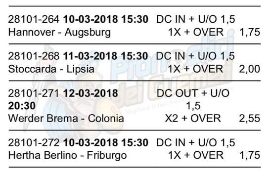 scommessa multipla bundesliga 26 giornata del 10 12 marzo 2018