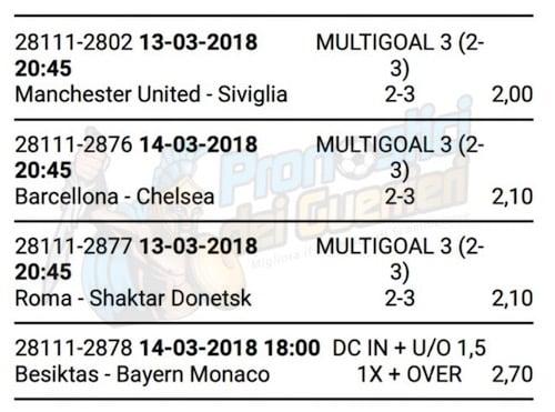 scommessa multipla champions league del 13 e 14 marzo 2018